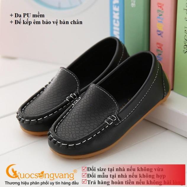 Giày mọi bé trai đẹp màu đen giày da bé trai GLG105 giá rẻ
