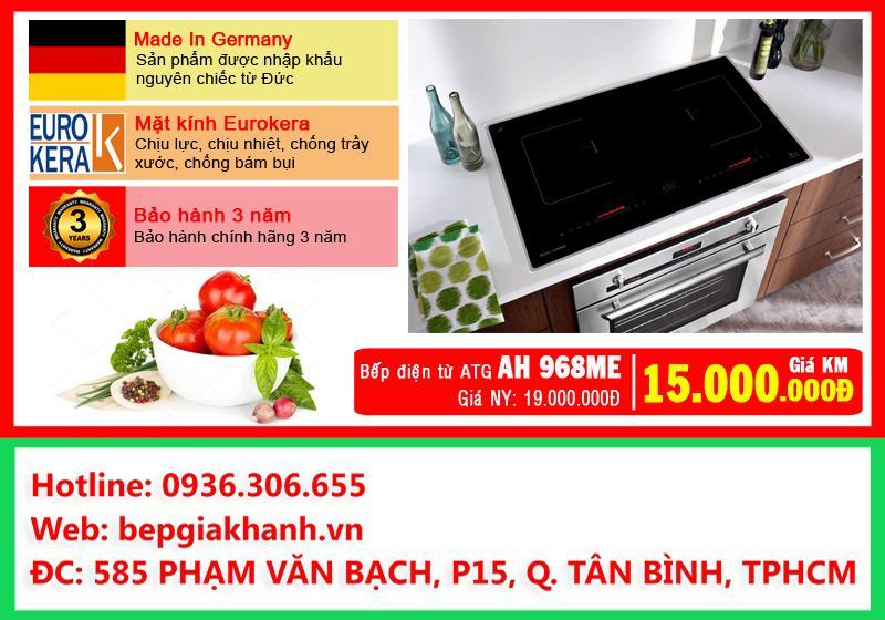 Giá Bếp đôi điện từ hồng ngoại ATG AH968ME nhập khẩu Đức, bếp điện từ đôi, bếp điện từ giá rẻ, bếp từ hồng ngoại kết hợp, bếp đôi điện từ và hồng ngoại, bếp điện từ, bếp hồng ngoại kết hợp từ Điện máy Thiên Hò