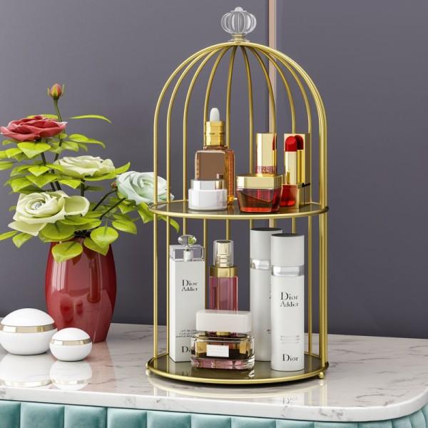 Kệ trang điểm Luxury - Kệ để mỹ phẩm kim loại cao cấp mạ vàng cao cấp