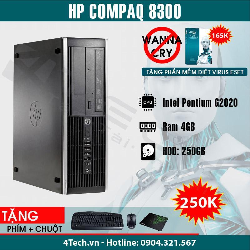 HP Compaq 8300 Intel Pentium G2020, Ram 4GB, HDD 250GB - Tặng phím, chuột, bàn di.