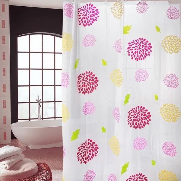 Rèm phòng tắm kèm móc treo 180cm x 180cm - HOA MẶT TRỜI