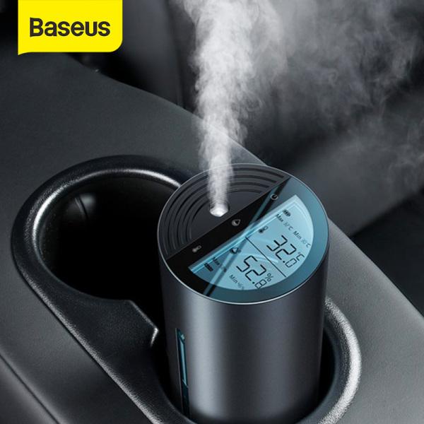 Máy tạo độ ẩm không khí Baseus 260mL Máy làm ẩm không khí trên ô tô với màn hình kỹ thuật số LED Máy khuếch tán hương thơm ô tô Máy khuếch tán tinh dầu cho ô tô Phụ kiện văn phòng tại nhà Máy tạo ẩm di động