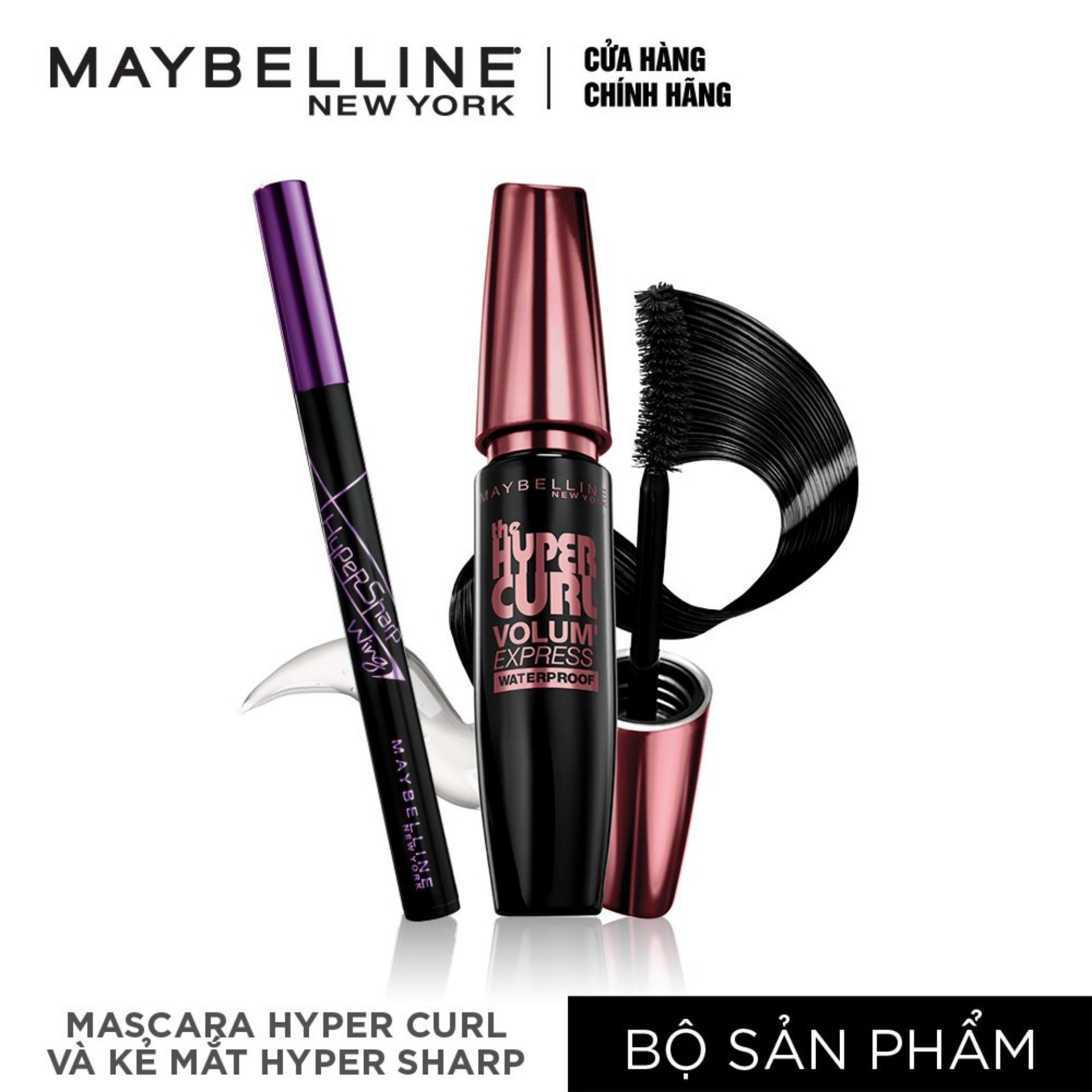 Bộ đôi Mascara dài & cong mi Maybelline Hyper Curl + Kẻ mắt nước Maybelline Hyper sharp nhập khẩu