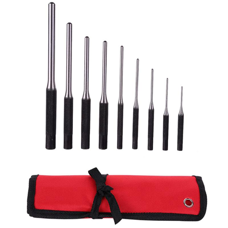 9-Piece Set-Up Punch Round Punch Pieces Roll Pin Punch Set Tool Bolt Catch Roll Pin Punch Tool Kit
