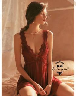 Váy Ngủ Satin Phối Ren Hở Lưng Sâu - Blingerie thumbnail