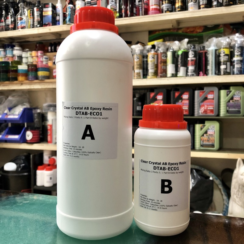 Keo đổ nhựa phủ sàn, phủ ảnh tráng gương, đổ bàn pha màu tối Epoxy Resin loại thường khô cứng DTAB-ECO - 1kg