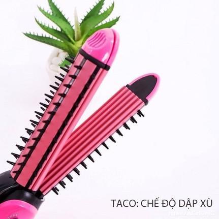 Máy duỗi tóc, máy bấm tóc, máy uốn xù tạo kiểu tóc 3 chức năng: duỗi, uốn, bấm tạo kiểu tóc - Nova 3in1