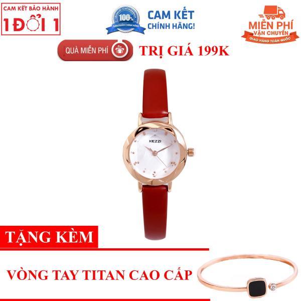 Nơi bán [COMBO TẶNG KÈM LÊN ĐẾN 199K]Đồng hồ nữ Kezzi K770 hàng chính hiệu KEZZI dây da mặt tròn - Đồng Hồ Nữ Thời Trang Công Sở Cao Cấp Kezzi K770 - Full Box - Dây Đỏ
