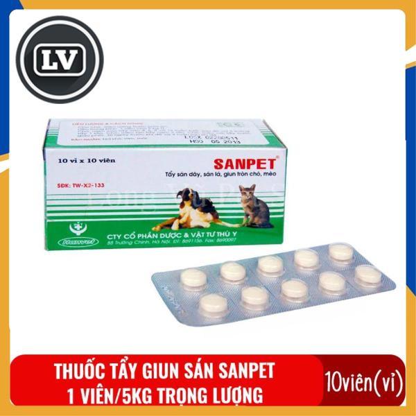 1 vỉ (10 viên) Thuốc tẩy giun sán cho chó mèo Sanpet - Thuốc xổ giun, sán, lãi cho thú cưng