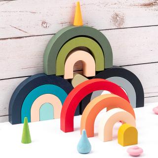 Montessori Educational Toys Gifts Children s Wooden Creative Rainbow Diy Stacking Balanced Nordic Style Building Blocks thumbnail