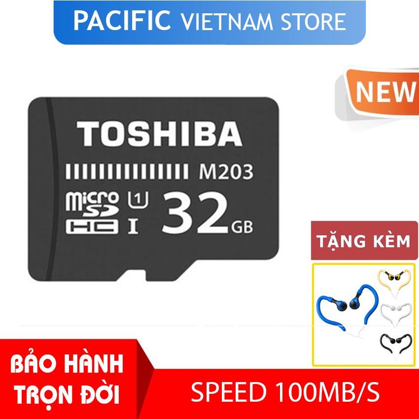 Thẻ nhớ Toshiba 32GB MicroSDHC UHS-I U1 100MB/s - Tặng Tai Nghe Móc Tai Kingrays EA4015