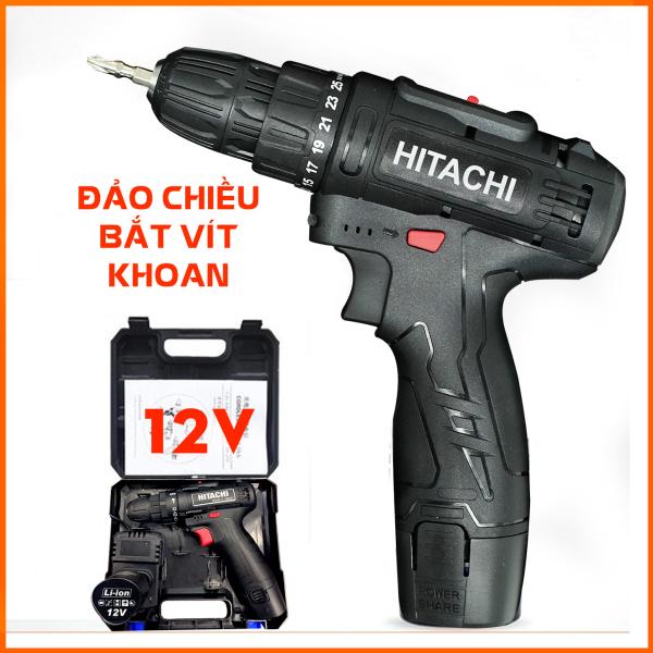 [Tặng mũi vít] Máy khoan Hitachi 12V bắt vít pin 3 chức năng khoan gỗ , sắt, bắt vít 2 nấc tốc độ 25 cấp độ trượt
