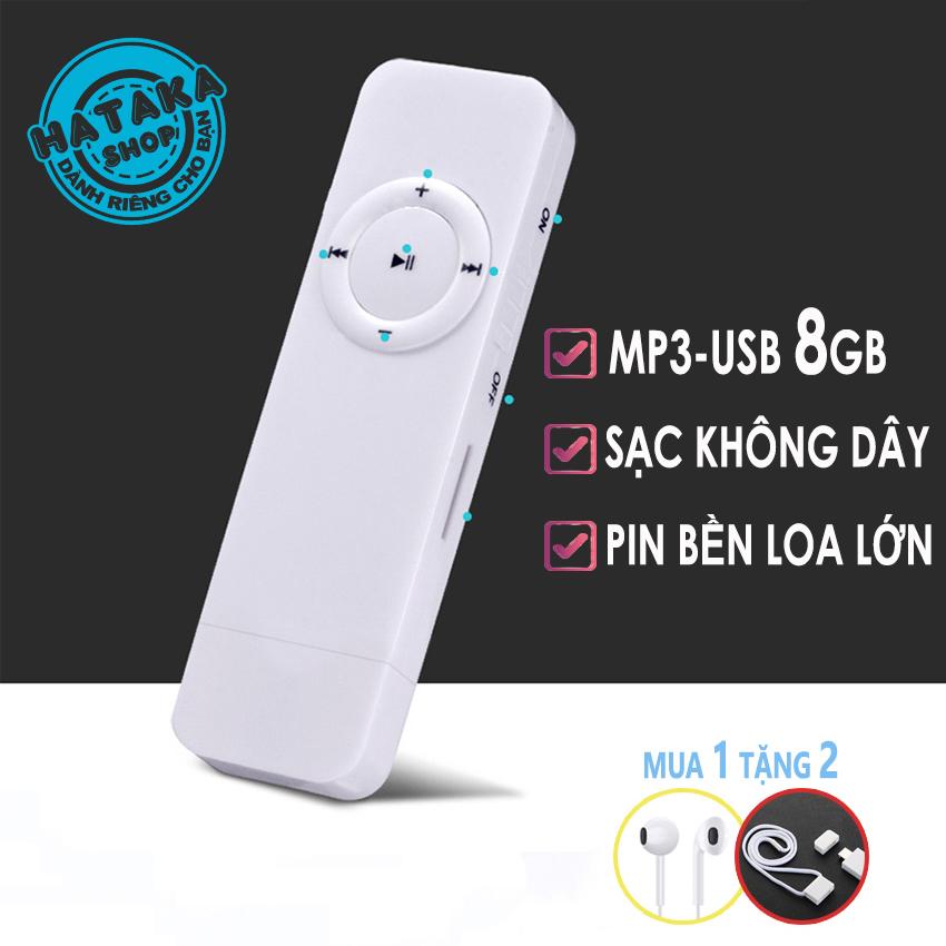 [Nhập ELAPR21 giảm 10% tối đa 200k đơn từ 99k]Máy nghe nhạc mp3 USB 8gb 7h phát nhạc tặng tai nghe và dây đeo