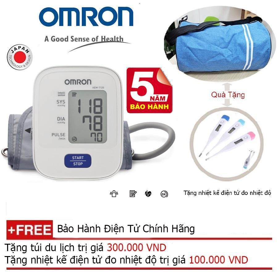 Nơi bán Máy đo huyết áp bắp tay Omron Hem 7120 ( Trắng ) + Tặng balo du lịch