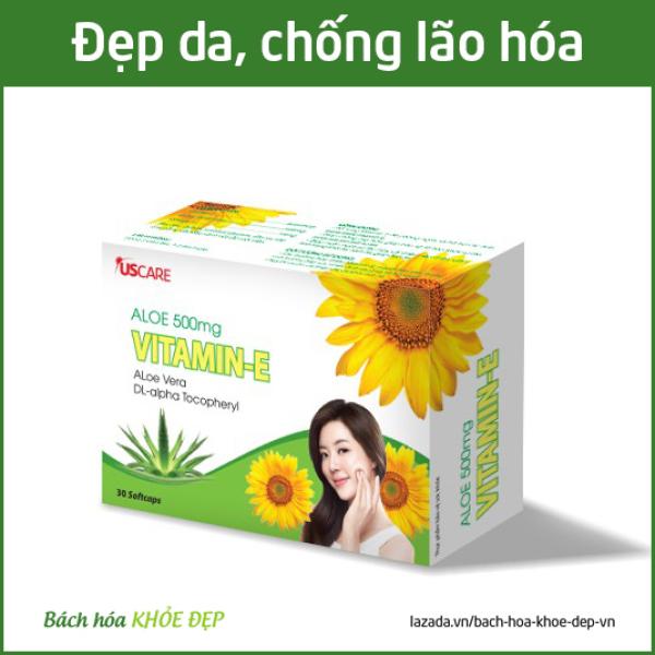 Viên uống đẹp da Vitamin E 4000mcg, Aloe vera 500mg, Omega 3 làm đẹp da, chống lão hóa, ngừa nếp nhăn - Hộp 30 viên