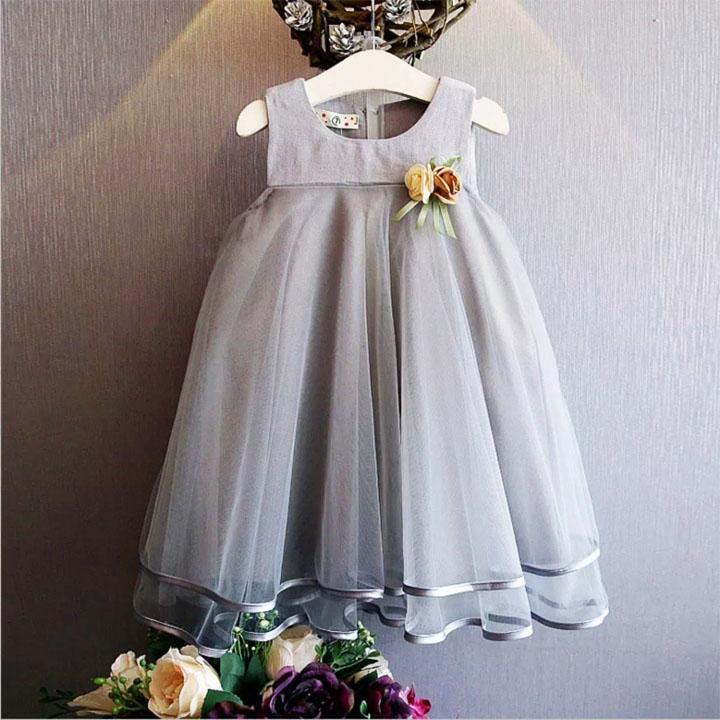Giá bán Đầm công chúa mềm mại phối hoa vải trang trọng cho bé gái 3-9 tuổi BBShine– D045