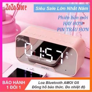 Loa Bluetooth G5, loa không giây màn hình LED kèm đồng hồ báo thức, loa âm trầm mặt tráng gương có hỗ trợ thẻ nhớ tương thích mọi hệ điều hành thumbnail