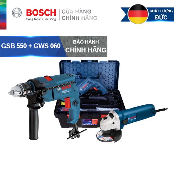 Bảng giá Combo Máy khoan động lực Bosch GSB 550 FREEDOM SET 90 chi tiết + Máy mài góc Bosch GWS 060