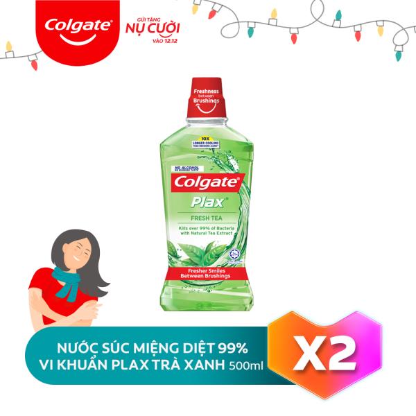 Bộ đôi Nước súc miệng Colgate diệt 99% vi khuẩn Plax trà xanh 500ml/chai nhập khẩu