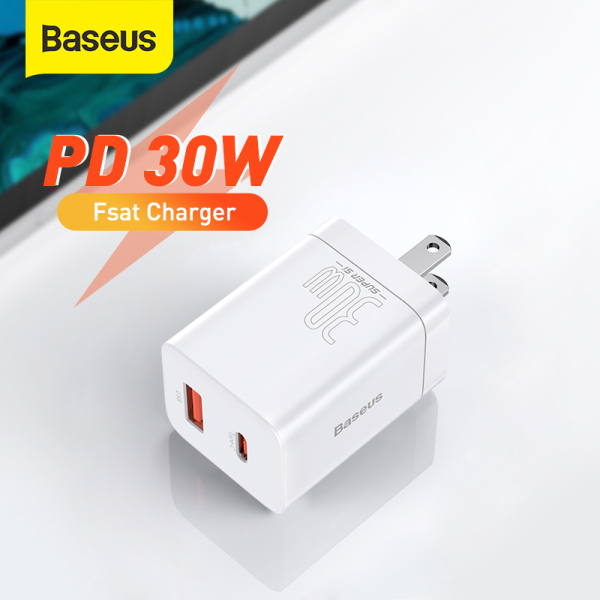 Baseus 30W Super Si Pro USB Charger Type C Fast Charger QC3.0 USB C Quick Charge PD3.0 Dual Port Phone Charge for iPhone 13 12 X Xs 8 Macbook