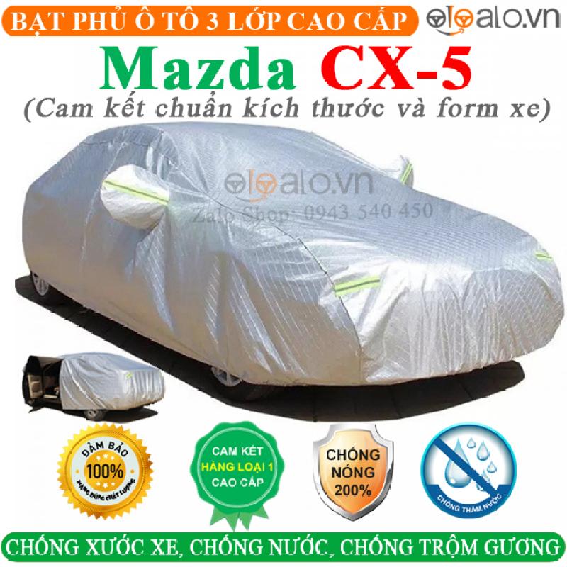 Bạt phủ ô tô Mazda CX5 CAO CẤP 3 LỚP CHỐNG NÓNG MƯA CHỘM GƯƠNG - Có khóa kéo cửa lái, Bạt phủ xe ô tô Mazda CX5, Bạt che ô tô Mazda CX5
