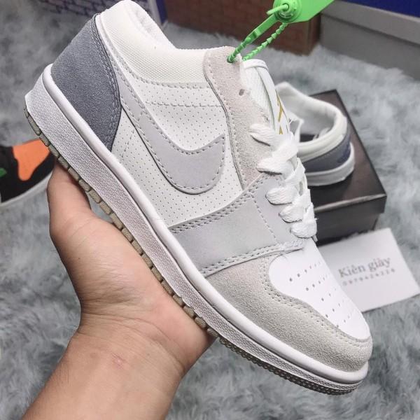 Giày Sneaker Jordan 1 cổ thấp xám xanh, Giày thể thao JD1 Xám Paris cổ thấp cực chất dành cho nam nữ