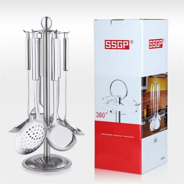 Bộ dụng cụ nấu ăn cao cấp SSGP - 6 món và giá treo Inox - muỗng thủng - muỗng múc canh - vá vớt mì - xẻng xào - xẻng lật thức ăn