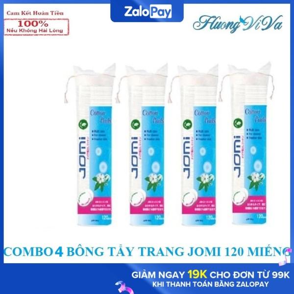 (COMBO 4 BÔNG TẨY TRANG 480 Miếng)Bông tẩy trang jomi 120 miếng/bông, bông tẩy trang nhật bản, bông tẩy trang 100% cotton có may viền - Huongviva