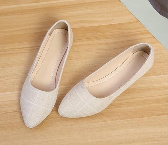 Giày búp bê họa tiết caro dành cho nữ giá rẻ