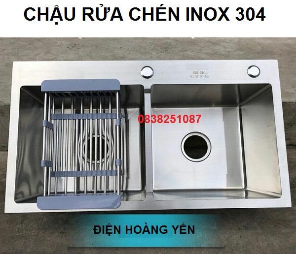 Chậu rửa chén bát Inox 304 Đúc Nguyên Khối 82 x 45 cm 2 hố cân (tặng kệ để đồ) - 8245D