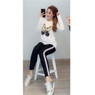 Đồ bộ nữ quần dài viền sọc áo in hình con mèo thời trang mới S66 thumbnail