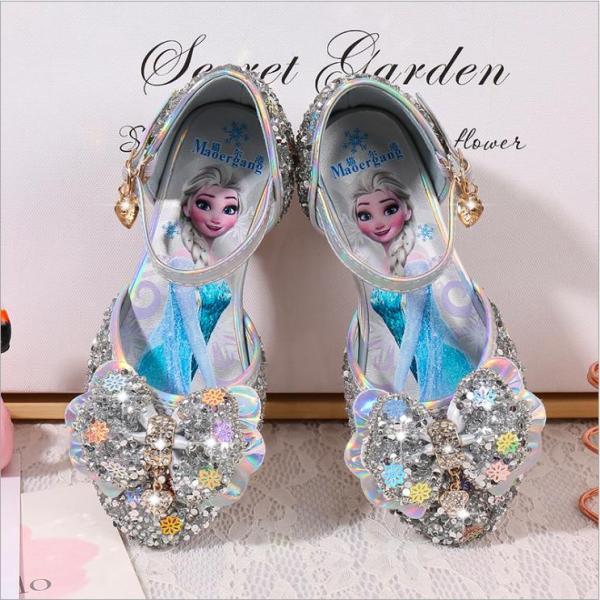 Giá bán Giày công chúa Elsa bé gái cao gót khoét eo nơ xinh từ 3 - 12 tuổi