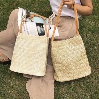 sell like hot cakes Women Durable Straw Beach Linen Woven Bucket Bag Casual Tote Handbags thumbnail