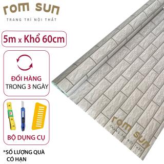1m x khổ 60cm Giấy dán tường phòng ngủ - Giấy dán tường giả gạch trắng 3D hàn quốc sẵn keo, miếng dán tường cổ điển cao cấp thumbnail