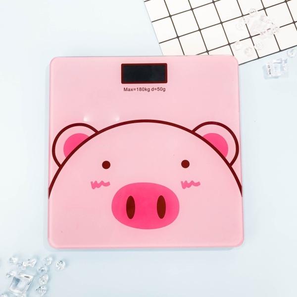 Cân sức khỏe heo con dễ thương - Cân điện tử heo hồng xinh xắn có đo nhiệt độ phòng cao cấp