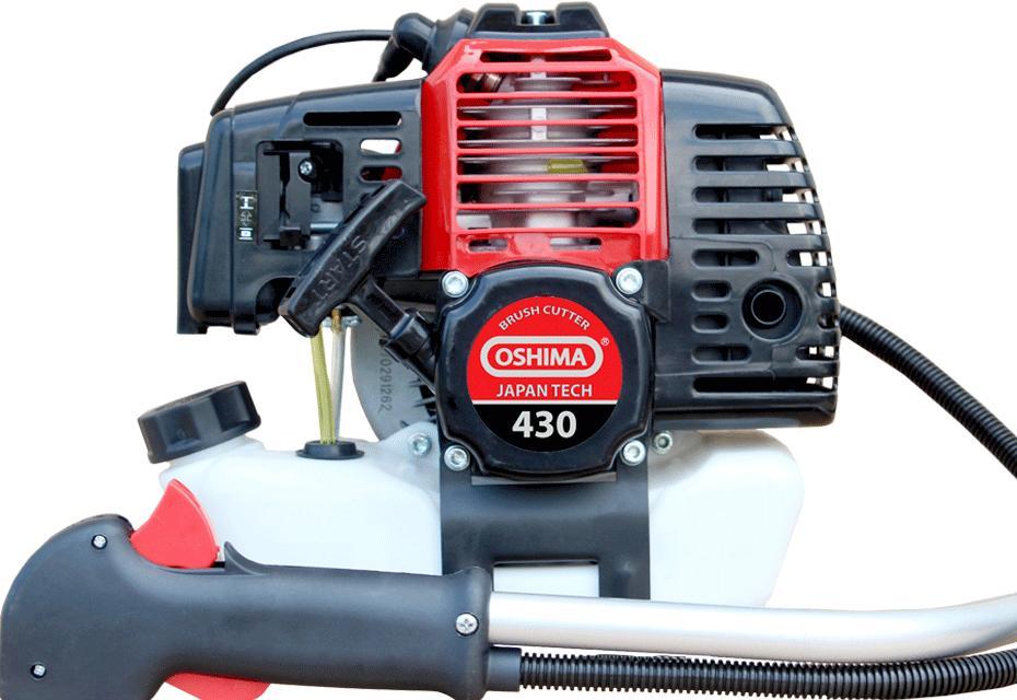 Máy cắt cỏ mini cầm tay Oshima 430 bạc, C/S 1.5 KW, Dung tích 42.8 cc, Bình xăng con Ruxing nắp chống bụi, Cần dày 2mm