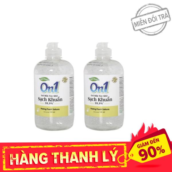 [Thanh Lý] Combo 2 chai gel rửa tay khô ON1 hương Fresh Sakura 500ml, Khả năng diệt khuẩn cao, Hương thơm dịu nhẹ nhập khẩu