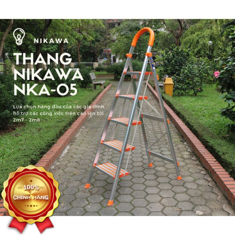Thang Nhôm Ghế Gia Đình 5 Bậc Nikawa NKA-05 Thang Thắp Hương