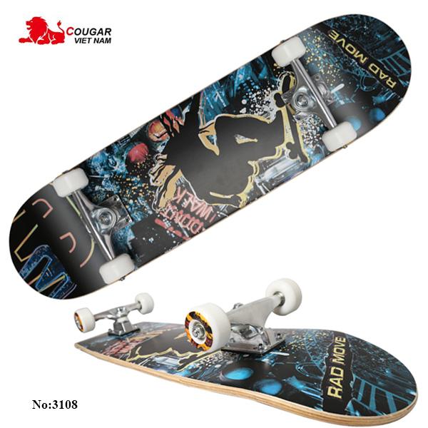 Ván trượt Skateboard, Ván Trượt Thể Thao Người Lớn, Trẻ Em (KT: 70*25*10 CM) Cỡ Lớn Đạt Chuẩn Thi Đấu Gỗ Ép 8 Lớp Chịu Lực Tốt, Trục Làm Bằng Thép, Bánh Xe Làm Bằng Nhựa PU Siêu Bền