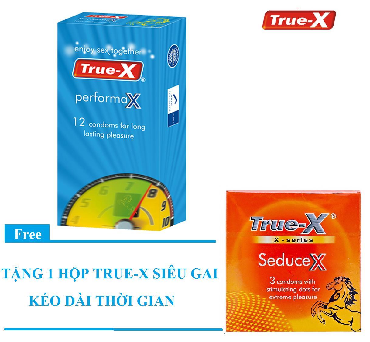 Bộ 1 hộp Bao cao su True-X PerformaX- Extra time kéo dài thời gian tặng 1 hộp True-X SeduceX (15 chiếc) nhập khẩu
