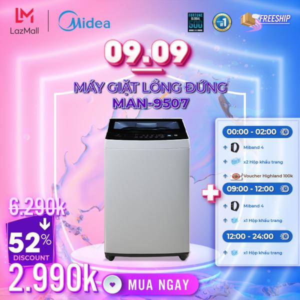 Bảng giá Máy Giặt Midea MAN-8507 8.5Kg Lồng Đứng - Mâm Giặt Water Magic Cube Tăng Khả Năng Làm Sạch - Nắp Kính Cường Lực Cao Cấp - Nhiều Chu Trình Giặt Chỉ Với Một Nút Ấn - Hàng Chính Hãng Bảo Hành 2 Năm Điện máy Pico