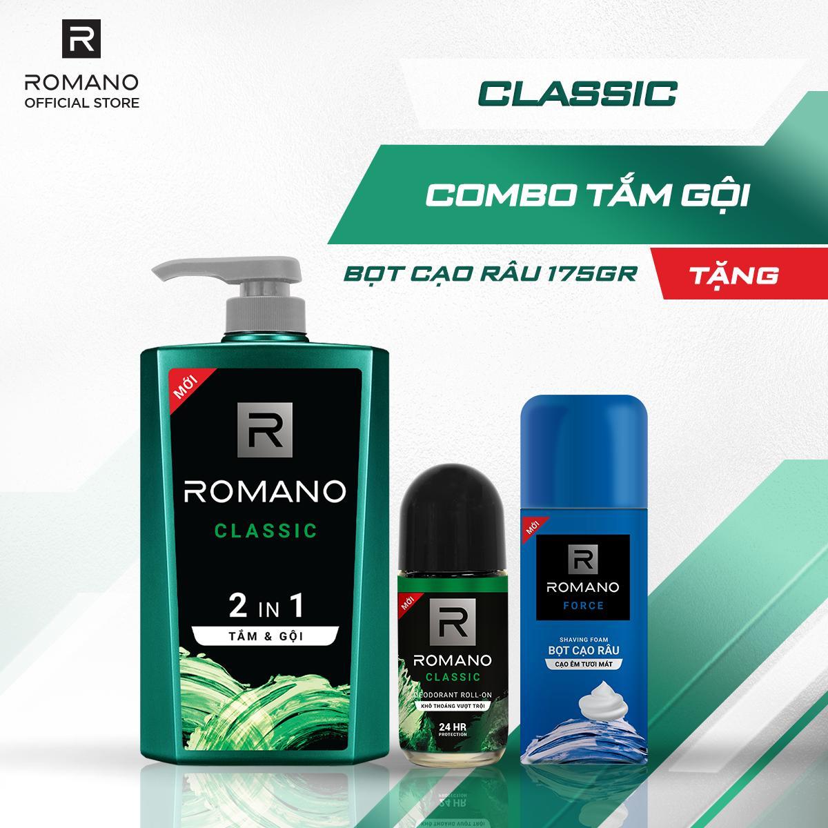 Combo tắm gội 2 trong 1 Romano Classic 650gr & lăn khử mùi Classic 50ml tặng bọt cạo râu Force175gr nhập khẩu