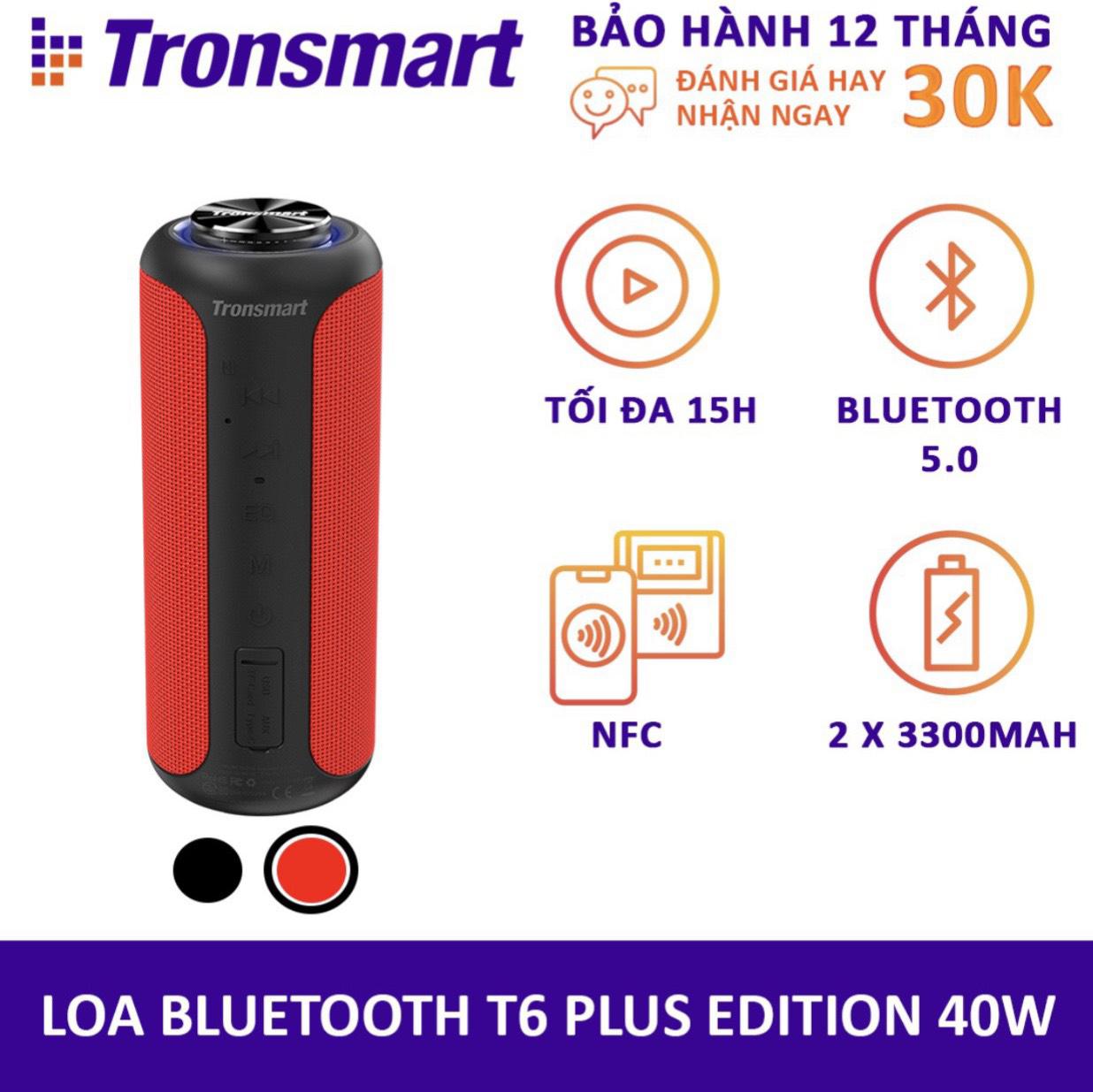 Loa Bluetooth 5.0 Tronsmart T6 Plus / T6 Plus Upgraded Công suất 40W Hỗ trợ TWS ghép đôi 2 loa Âm thanh vòm âm bass sâu và trầm với 3 chế độ EQ Chống nước IPX6 Thời gian nghe nhạc lên tới 24h - Hàng chính hãng bảo hành 12 tháng