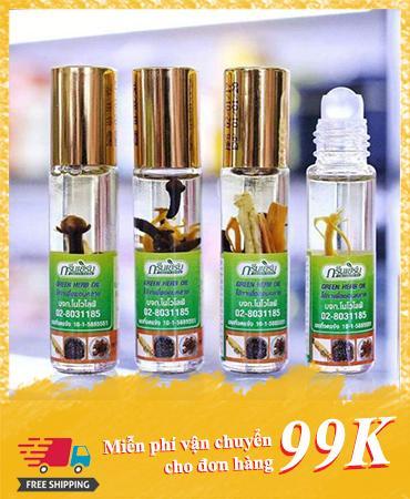 Dầu Gió Thảo Dược Green Herb- Trị xoang,nghẹt mũi,say xe,côn trùng cắn, Hàng Thái