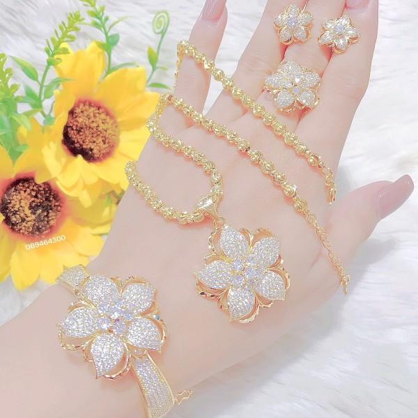 Bộ trang sức nữ mạ vàng 24k, bộ trang sức bông hoa đính đá pha lê sáng lấp lánh, thiết kế sang trọng quý phái - trang sức Myka shop, đeo đi làm đi đám cưới cực sang trọng