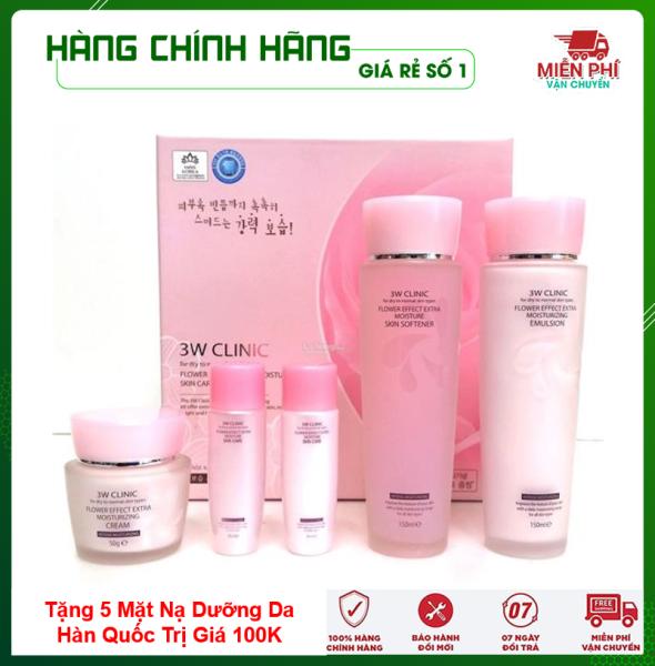 [Hàng Nhập Khẩu Hàn Quốc] Bộ dưỡng da - Bộ dưỡng trắng da chiết xuất từ Hoa Hồng 3W Clinic Hàn Quốc