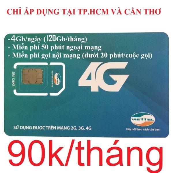 Sim 4G Viettel V120Z Đầu số 03 - Đăng ký đúng chủ (Phí 90k/tháng: 4Gb/ngày, Gọi nội mạng miễn phí tất cả cuộc gọi dưới 20 phút, ngoại mạng 50 phút miễn phí). Gói cước chỉ áp dụng tại TP.HCM và Cần Thơ