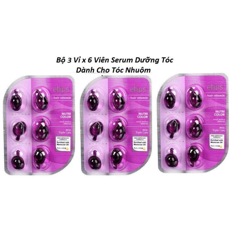 Combo 3 Vỉ x 6 Viên Serum Dưỡng Dành Cho Tóc Nhuộm Ellips Hair Vitamin - Nutri Color cao cấp
