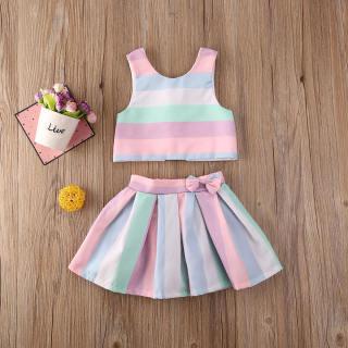 Bộ áo váy không tay kẻ sọc nhiều màu dành cho bé gái bé đang tập đi bộ áo váy chất liệu cotton phù hợp cho bé từ 0-3 tuổi - INTL