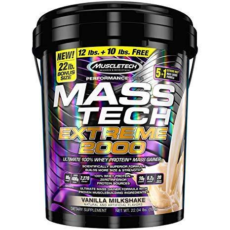 Thực phẩm bổ sung - Sữa Tăng Cân - Mass Tech Extreme 2000 - thùng 22lbs (10kg) - vị Vanilla cao cấp
